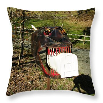 Throw Pillow featuring the photograph Scary Mailbox 2 by Sherman Perry