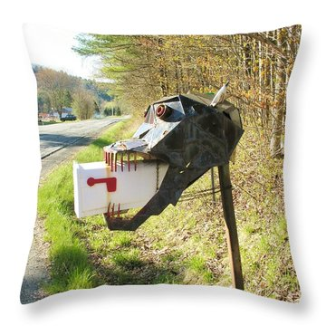 Throw Pillow featuring the photograph Scary Mailbox by Sherman Perry