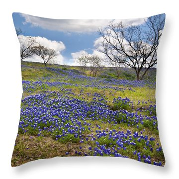 Scattered Bluebonnets Throw Pillow