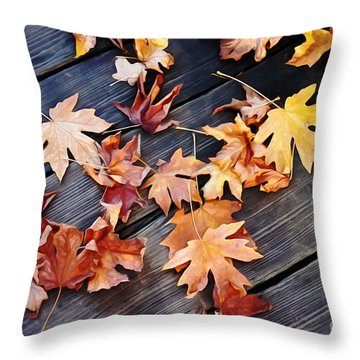 Scattered Leaves Throw Pillow by Erica Hanel