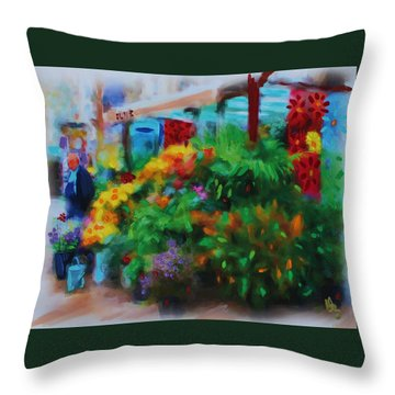 Throw Pillow featuring the painting Scene From La Rambla by Deborah Boyd