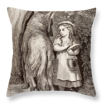 Scene From Little Red Riding Hood Throw Pillow