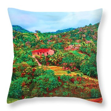 Scene From Mahogony Bay Honduras Throw Pillow