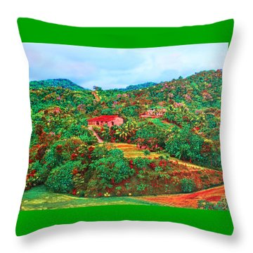 Throw Pillow featuring the painting Scene From Mahogony Bay Honduras by Deborah Boyd