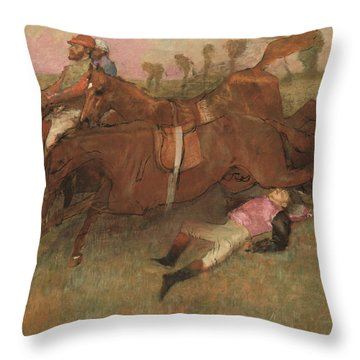 Scene From The Steeplechase The Fallen Jockey Throw Pillow