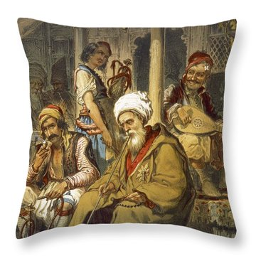 Scene In A Cafe, 1865 Throw Pillow by Amadeo Preziosi