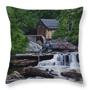 Scenic Grist Mill Throw Pillow by Vicky Path