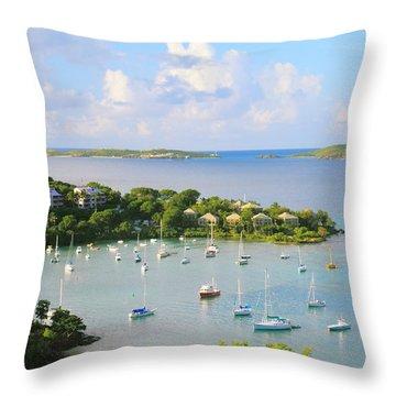 Scenic Overlook Of Cruz Bay St. John Usvi Throw Pillow