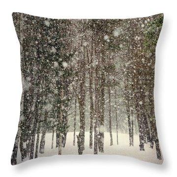 Scenic Snowfall Throw Pillow by Christina Rollo