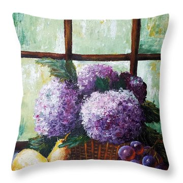 Throw Pillow featuring the painting Scent Of Memories by Vesna Martinjak
