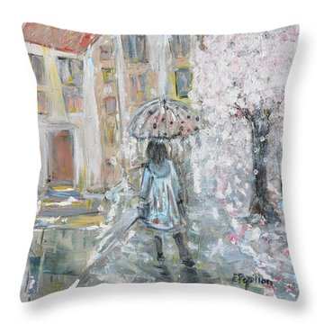 Throw Pillow featuring the painting Scent Of Spring by Evelina Popilian
