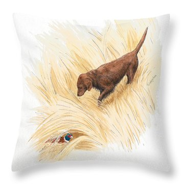 Scenting Pheasant Throw Pillow