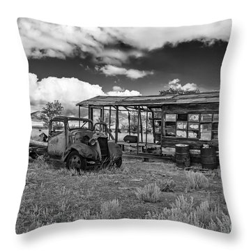 Schellbourne Station And Old Truck Throw Pillow by Robert Bales