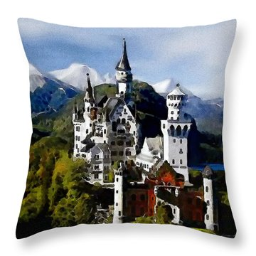 Throw Pillow featuring the painting Schengen Castle by Jann Paxton
