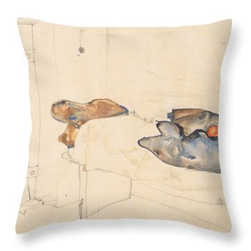 Schiele's Drawing Of His Prison Cell In Neulengbach Throw Pillow by Celestial Images
