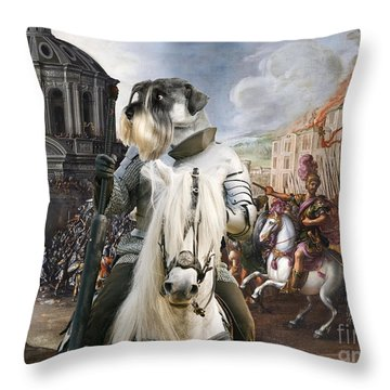 Schnauzer Art - A Siege The Sack Of Rome   Throw Pillow