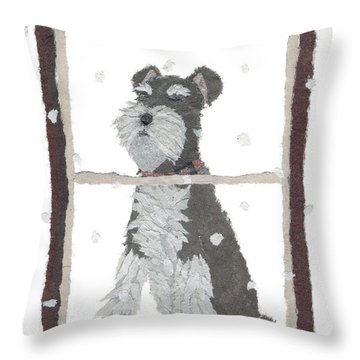 Schnauzer Art Hand-torn Newspaper Collage Art Throw Pillow by Keiko Suzuki Bless Hue