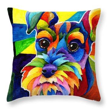 Schnauzer Throw Pillow by Sherry Shipley