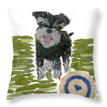 Schnauzer Art Hand-torn Newspaper Collage Art Dog Portrait Throw Pillow by Keiko Suzuki Bless Hue