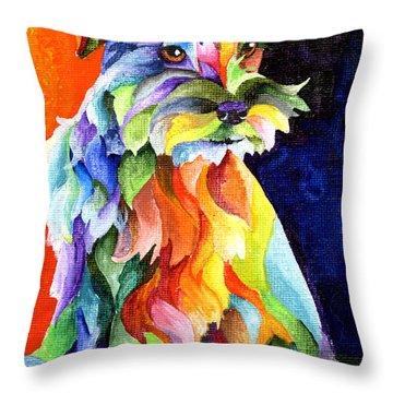 Schnauzer Too Throw Pillow by Sherry Shipley
