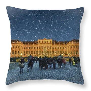Schonbrunn Christmas Market Throw Pillow by Joan Carroll
