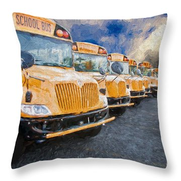 School Bus Lot Painterly Throw Pillow