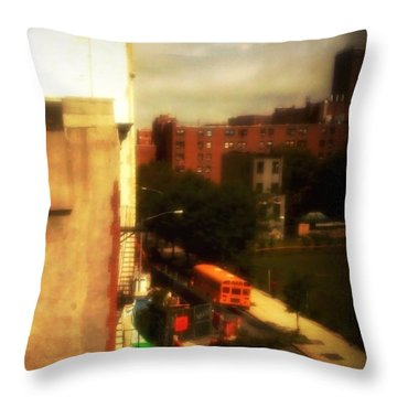 Throw Pillow featuring the photograph School Bus - New York City Street Scene by Miriam Danar