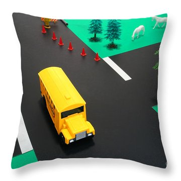 School Bus School Throw Pillow by Olivier Le Queinec