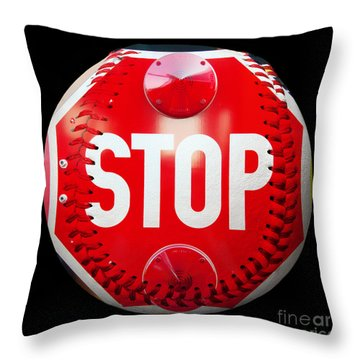 School Bus Stop Sign Baseball Square Throw Pillow by Andee Design