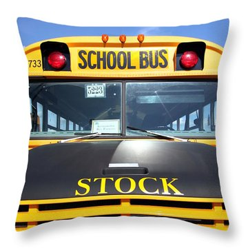 School Bus Throw Pillow by Valentino Visentini
