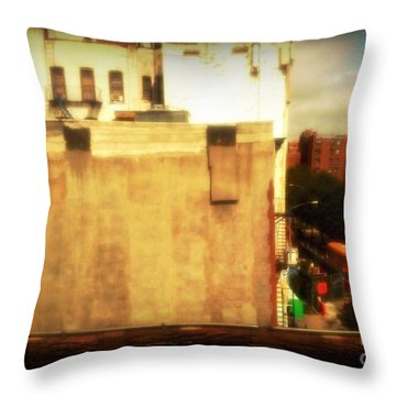 Throw Pillow featuring the photograph School Bus With White Building by Miriam Danar