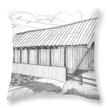 School House Covered Bridge Throw Pillow