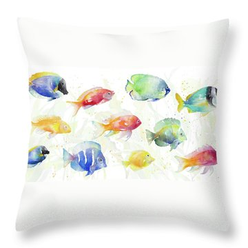 School Of Tropical Fish Throw Pillow