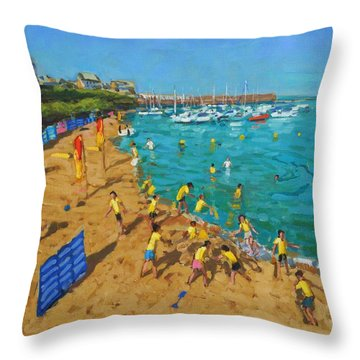 School Outing New Quay Wales Throw Pillow