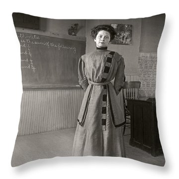 Throw Pillow featuring the photograph School Teacher 1890 by Martin Konopacki Restoration