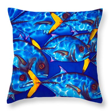 Schooling  Jack Fish Throw Pillow by Daniel Jean-Baptiste