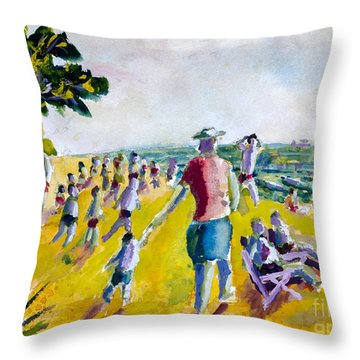 School's Out On The Beach Throw Pillow