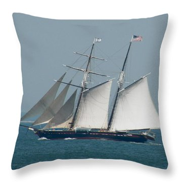 Schooner At Sail Throw Pillow