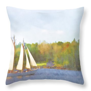 Schooner Castine Harbor Maine Throw Pillow