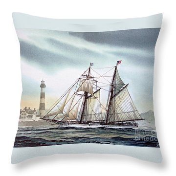 Schooner Light Throw Pillow by James Williamson