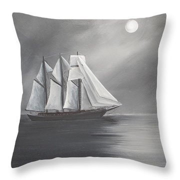 Schooner Moon Throw Pillow by Virginia Coyle