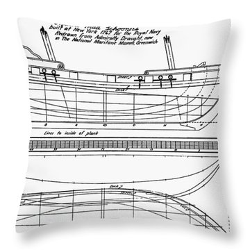 Schooner Plans, 1767 Throw Pillow