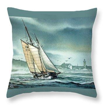 Schooner Voyager Throw Pillow by James Williamson