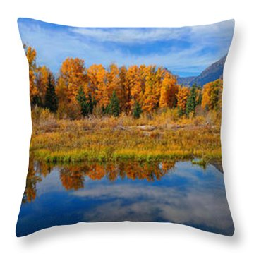 Schwabacher Autumn Reflections Panorama Throw Pillow