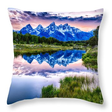 Blue Teton Throw Pillow