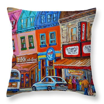 Schwartzs Deli Restaurant Montreal Smoked Meat Plateau Mont Royal Streetscene Carole Spandau Throw Pillow