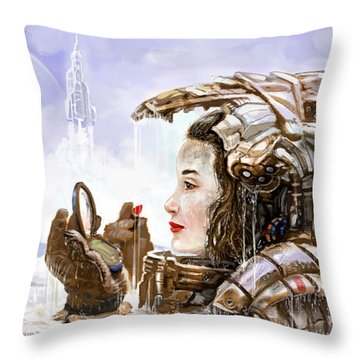 Sci Fi Girl Throw Pillow