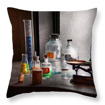 Science - Chemist - Chemistry Equipment  Throw Pillow by Mike Savad