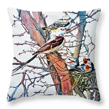 Da149 Scissortailed Flycatchers By Daniel Adams Throw Pillow