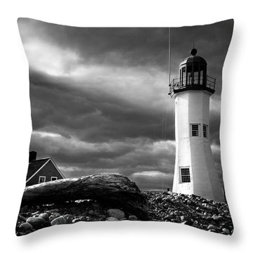 Throw Pillow featuring the photograph Scituate Lighthouse Under A Stormy Sky by Jeff Folger